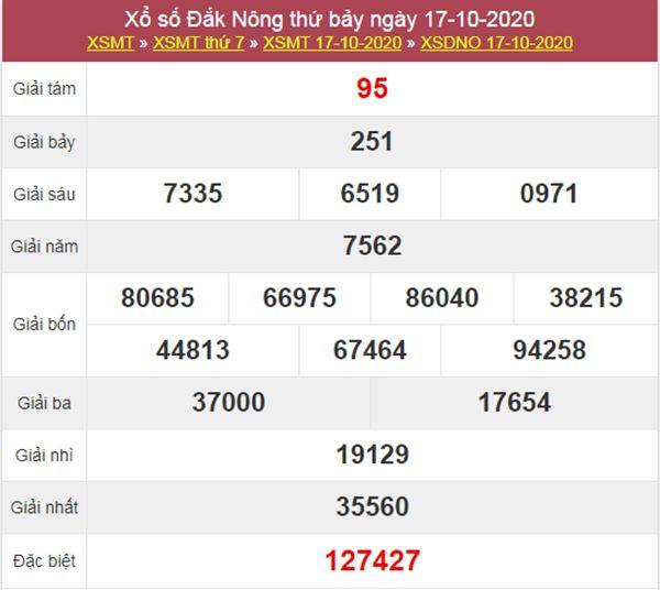 Dự đoán XSDNO 24/10/2020 chốt lô VIP Đắc Nông thứ 7
